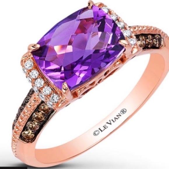 Levian Jewelry - LeVian Amethyst Ring Diamond 14k Strawberry Gold
